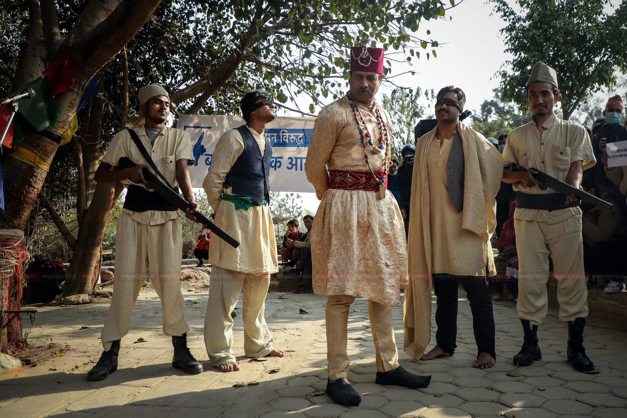 शहीद गंगालाल र दशरथलाई सम्झँदै शोभाभगवतीमा नागरिक समाजको प्रदर्शन