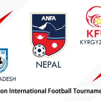 एन्फाले रंगशालामा त्रिदेशीय फुटबल प्रतियोगिता गर्दै