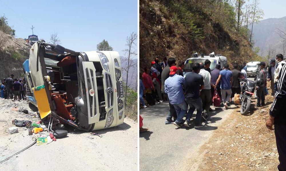 तीर्थयात्री बोकेको बस दुर्घटना हुँदा १ जनाको मृत्यु