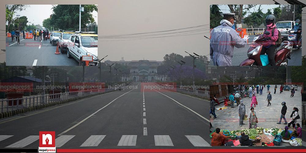 निषेधाज्ञापछि सुनसान काठमाडौं, प्रहरी जाँच कडा (तस्बिरहरु)