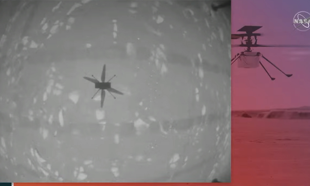 मंगल ग्रहमा नासाले उडायो हेलिकोप्टर, नासाको चुनौतिपूर्ण मिसन सफल (भिडियो)