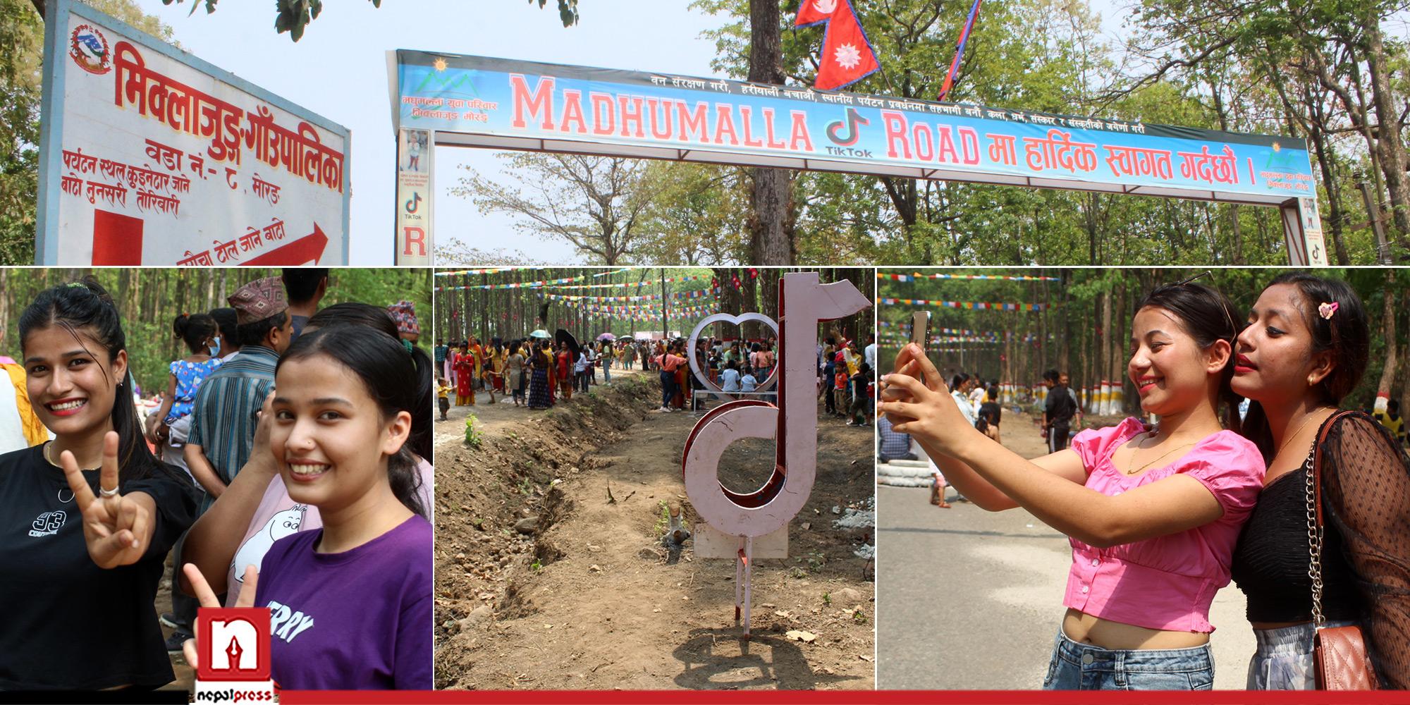 पर्यटक लोभ्याउन मधुमल्लामा 'टिकटक रोड'