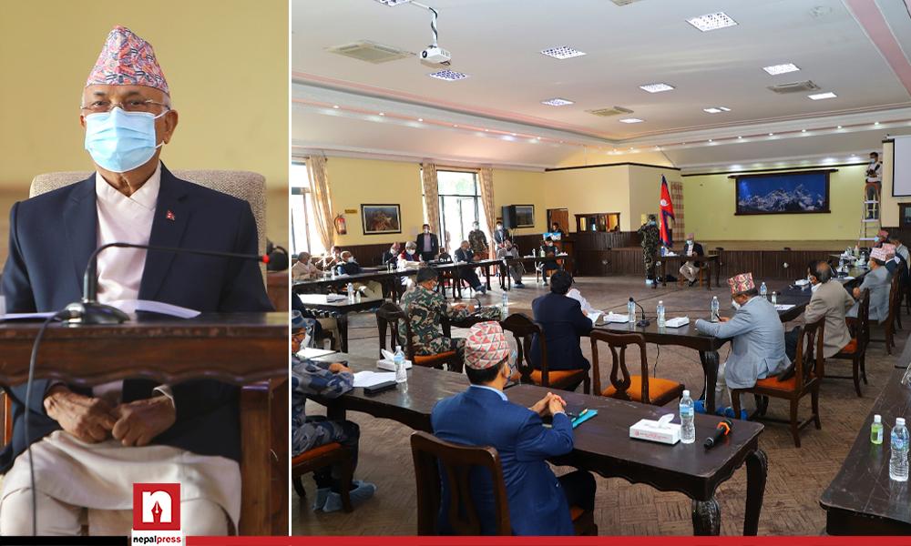 तस्बिरमा हेर्नूस बालुवाटारमा कोभिड संकटविरुद्ध संयुक्त बैठक