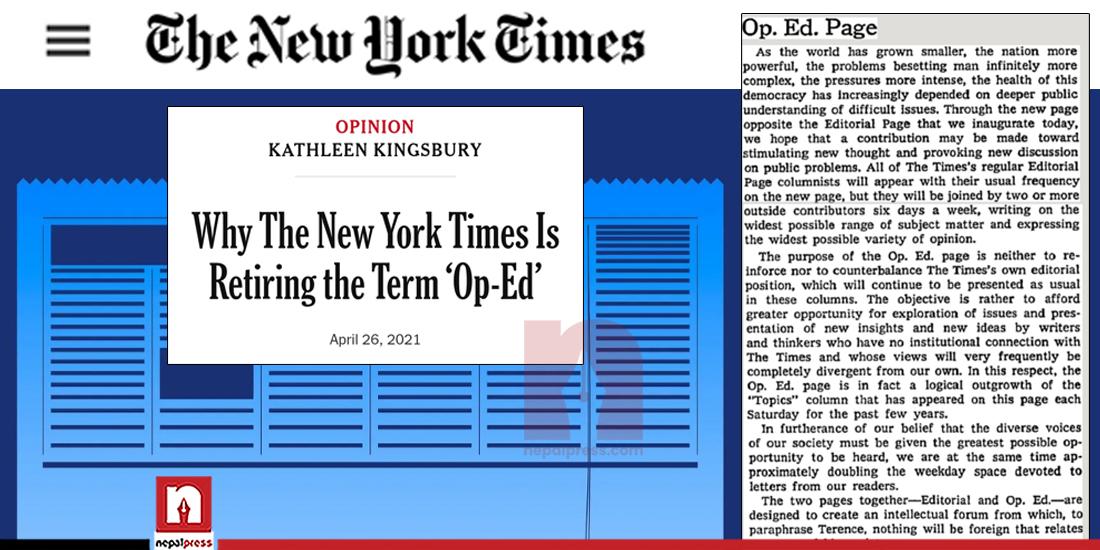 न्यू योर्क टाइम्सबाट ओपेडको अवकाश, यस्तो छ कारण