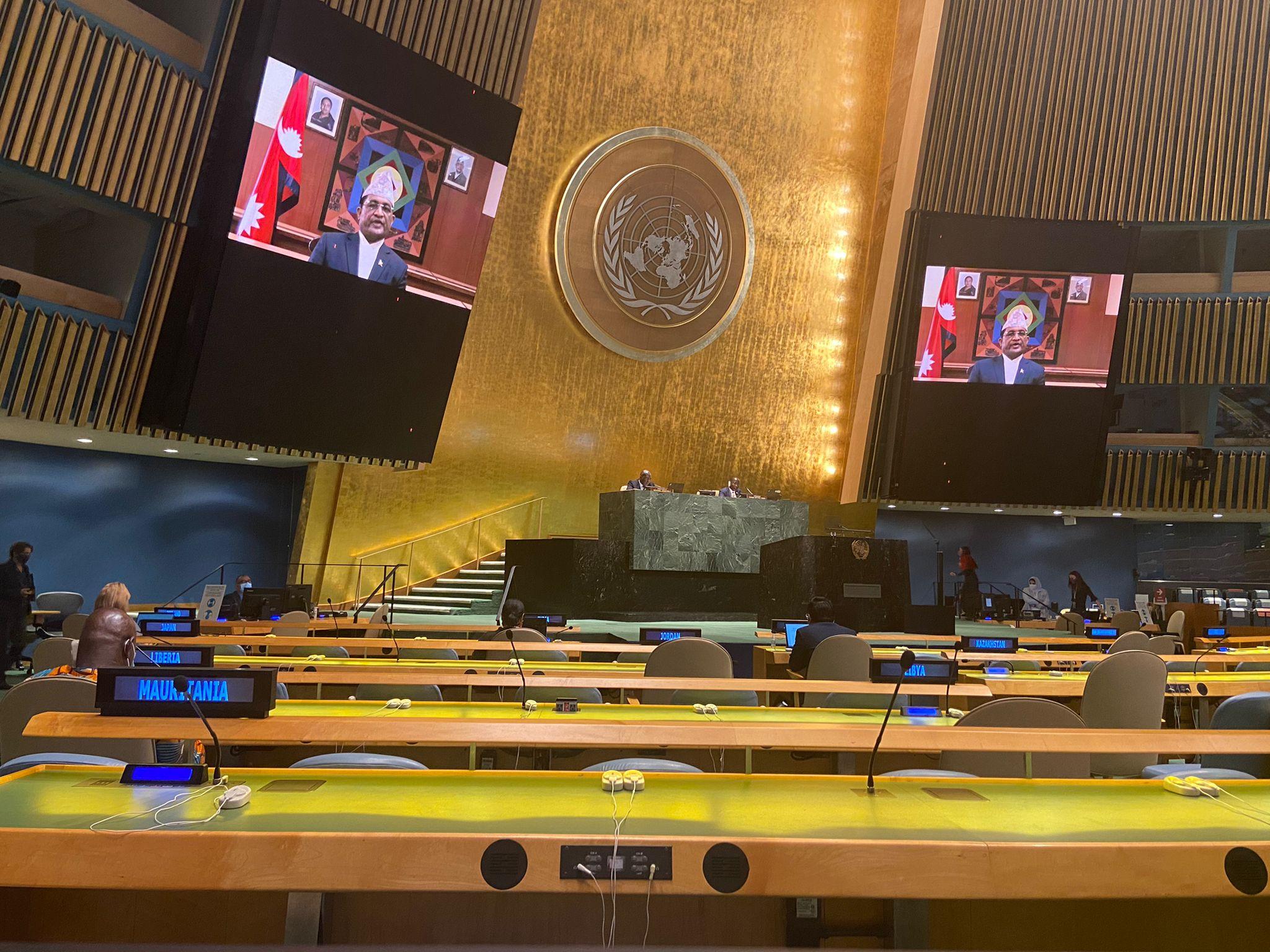 राष्ट्रसंघीय बैठकलाई परराष्ट्रमन्त्रीको सम्बोधन : आर्थिक सहायताको प्रतिबद्धता पुरा गर्न विदेशी साझेदारहरुलाई ध्यानाकर्षण