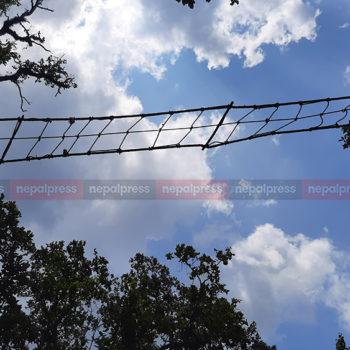 चितवनका बाँदरलाई डोरीको पुल (तस्वीरहरु)