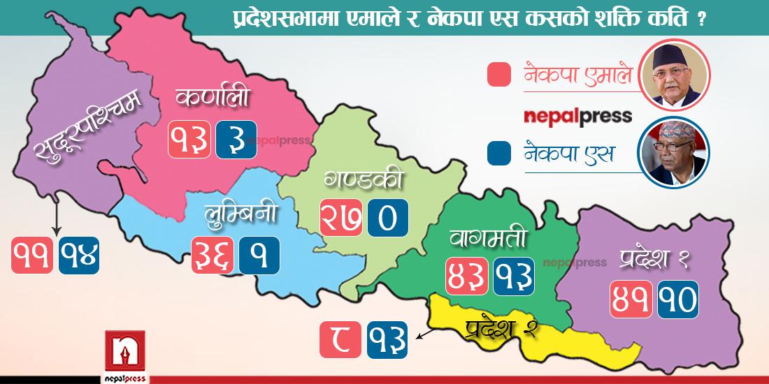 प्रदेशसभामा नेकपा एसको शक्ति २३ प्रतिशत-प्रदेश २ र सुपमा एमालेभन्दा ठूलो, गण्डकीमा नील (सूचीसहित)